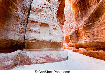The Siq - narrow gorge to ancient city Petra, Jordan