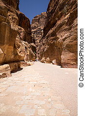The Siq, Petra, Jordan, - The Siq, the narrow slot-canyon...