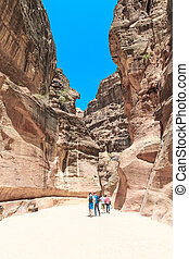 The Siq, the narrow slot-canyon that serves as the entrance...