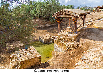 The site where Jeasus was baptized in river Jordan -...