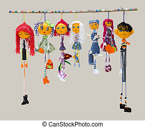 The Six female and one male handmade isolated thin dolls ...