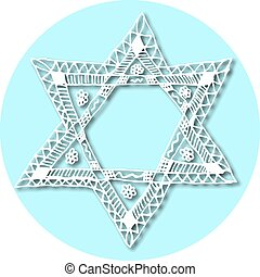 The six-pointed Jewish star of David in the style Doodle....