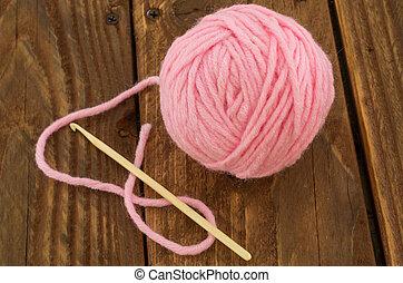 the skein of pink thread