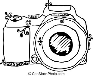 the sketch of a photo camera drawn by hand on a white ...