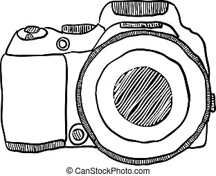 the sketch of a photo camera drawn by hand on a white background