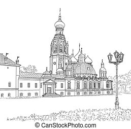 The sketch of the Resurrection Cathedral in Vologda. Russia