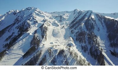 The skiing festival New Star Camp in Sochi, Rosa Khutor. Aerial view