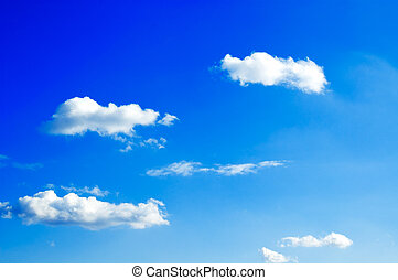 The sky. - The white clouds on blue sky.
