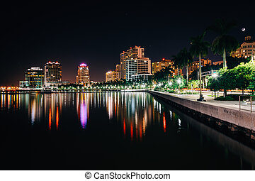 The skyline at night in West Palm Beach, Florida