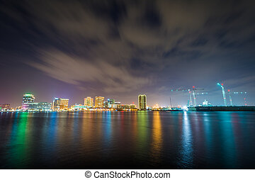 The skyline of Norfolk at night, seen from the waterfront in Portsmouth, Virginia.