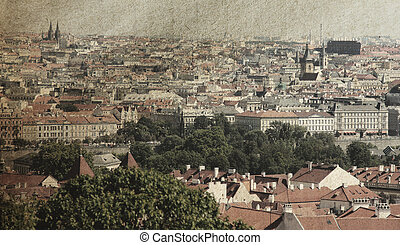 The skyline of Prague. Photo in old image style