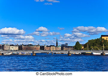 The skyline of Stockholm, Sweden - View of buildings and...