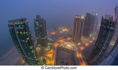 The skyline of the West Bay area from top in Doha day to...