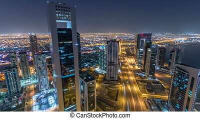 The skyline of the West Bay area from top in Doha timelapse, Qatar.