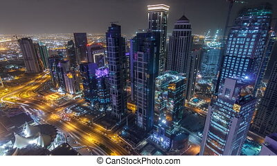 The skyline of the West Bay area from top in Doha timelapse,...