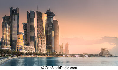 The skyline of West Bay and Doha City Center, Qatar