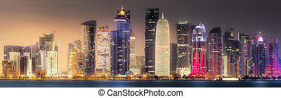 The skyline of West Bay and Doha City Center at night, Qatar