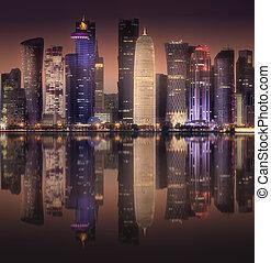The skyline of West Bay and Doha City, Qatar