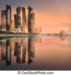The skyline of West Bay and Doha downtown, Qatar - The ...