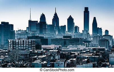 The skyline seen from the Ben Franklin Bridge Walkway, in Philadelphia, Pennsylvania.