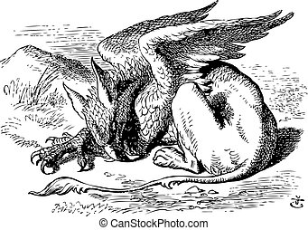 The Sleeping Gryphon - Alice in Wonderland original vintage engraving. They very soon came upon a Gryphon, lying fast asleep in the sun. Illustration from John Tenniel, published in 1865.