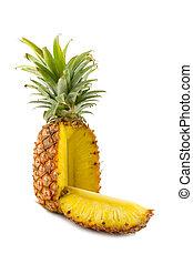sliced pineapple - the sliced pineapple isolated on white ...