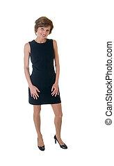 woman in a black dress
