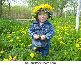 beautiful child with dandelions in the spring