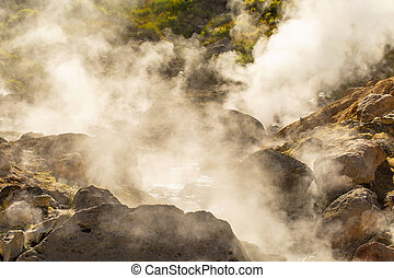 The small geyser on Vilyuchinsky volcano small valley of geysers on the Kamchatka Peninsula
