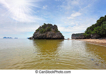 The small island in the Gulf of Thailand.