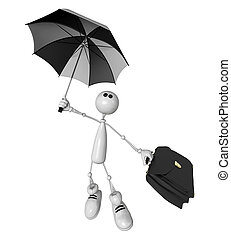 the small person with an umbrella and a portfolio