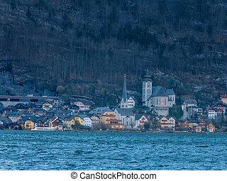 The small port of Hallstatt, Salzkammergut, Austria