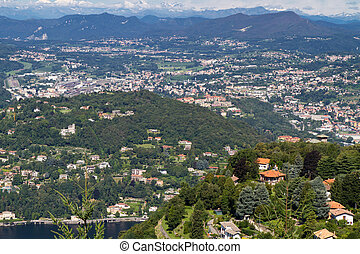 The small town Cernobbio at Lake Como, Italy, from above
