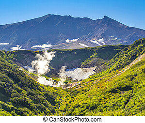 The small valley of geysers on Vilyuchinsky volcano on the Kamchatka Peninsula
