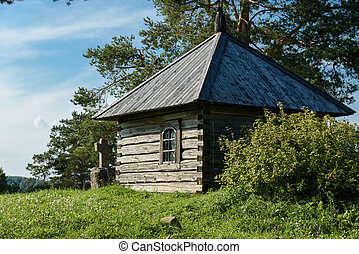 The small wooden house on grass hill with a copy space