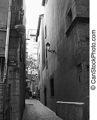 The smallest Lyon back alley in Lyon downtown, France. Black and white picture, grainy to give atmospheric aspect.