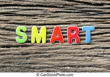 the smart text or letter in colorful scene with the wooden texture background