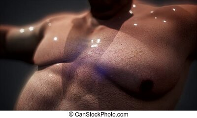 The smell of sweat. fat guy without a shirt