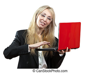The smiling business woman with the red laptop