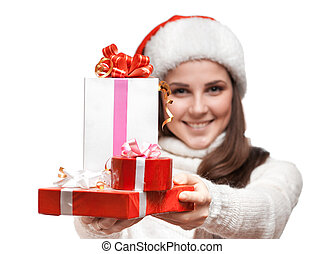 The smiling girl is giving the gifts