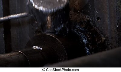 Smith Pours The Melted Metal From The Iron Ladle - The Smith...
