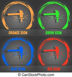 The smithy. Forge and stithy, blacksmith icon. Fashionable modern style. In the orange, green, blue, red design. Vector
