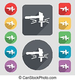 The smithy. Forge and stithy, blacksmith icon sign. A set of 12 colored buttons and a long shadow. Flat design. Vector