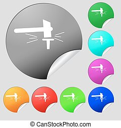 The smithy. Forge and stithy, blacksmith icon sign. Set of eight multi colored round buttons, stickers. Vector