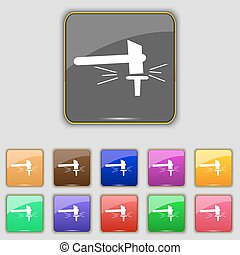 The smithy. Forge and stithy, blacksmith icon sign. Set with eleven colored buttons for your site. Vector