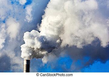 smoking chimneys of a factory
