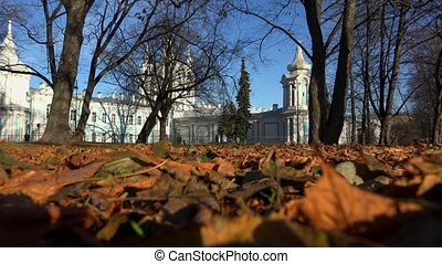 The Smolny Cathedral in St. Petersburg. 4K.