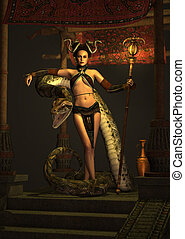 The Snake Priestess 3d CG - 3d computer graphics of a...