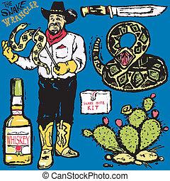 The Snake Wrangler grungy clip art collection