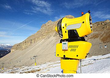 The snow cannon in ski resort, Madonna di Campiglio, Italy